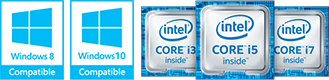 Windows 10 compatible Intel Core logos